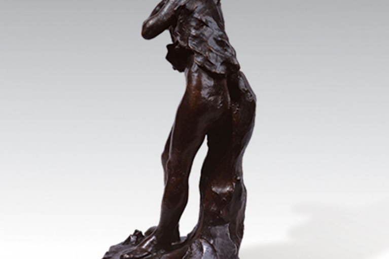 Baigneuse aux sandales, also known as Baigneuse aux babouches, conceived in 1898, executed in 1898, Bronze with brown patina, 42 x 17.5 x 19.6 cm