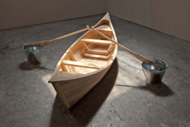 Zhou Wendou, Water, 2017. Wood boat and oars, water, galvanized iron buckets, 300 x 300 x 70 cm