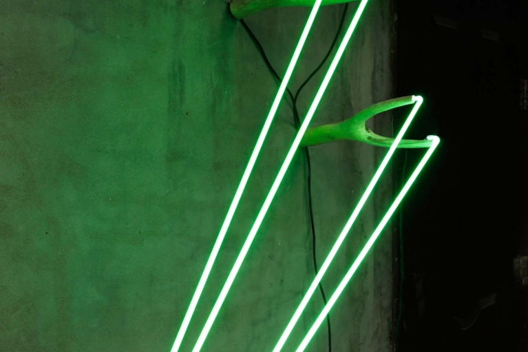 周文斗, 彈弓, 2017. 樹杈、霓虹燈、變壓器, 74 x 40 x 30 cm
