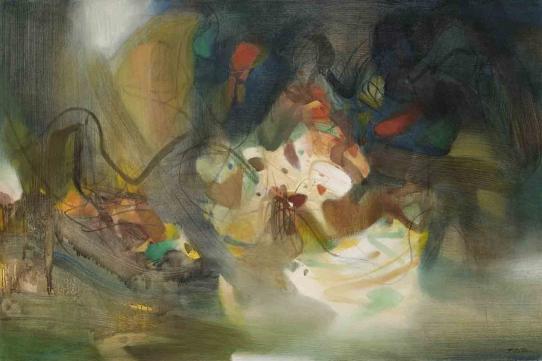 Chu Teh-Chun, Composition, 1984, Oil on canvas, 130 x 195 cm