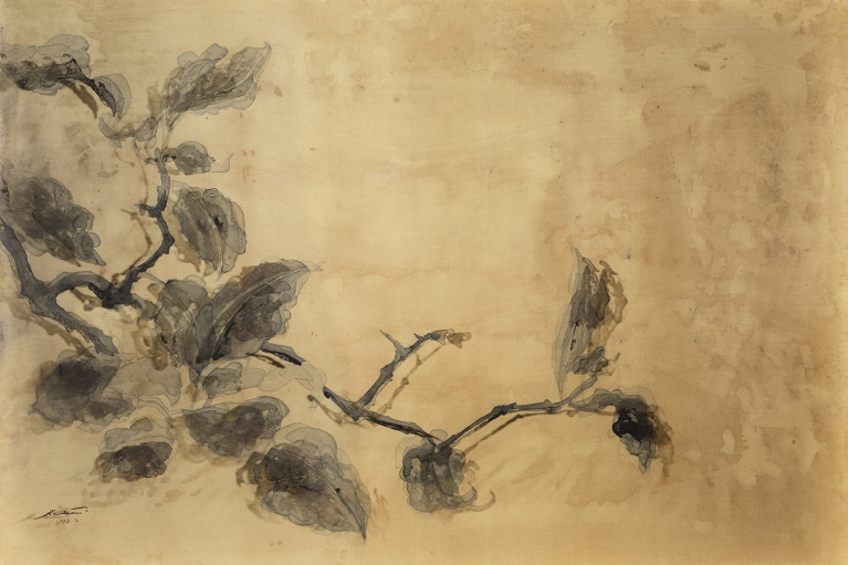 杨凯,果熟图,2016,绢本水墨,亚克力,84 x 122 厘米