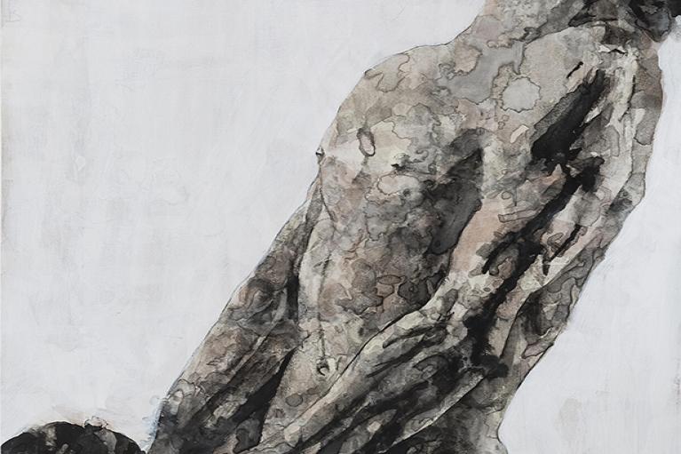 楊凱,为愛有因 NO.1,2013,宣紙木板,水墨,110 x 75 厘米