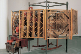 Chen Zhen, Opening of a closer center, 1997, Wood, metal, objects and furnitures, 250 x 345 x 300 cm