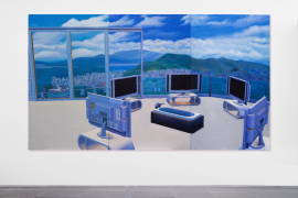 Mak Ying Tung 2, Home Sweet Home: TV Bath, 2019, Acrylic on canvas, 200 x 355 cm (Each panel 200 x 118.3 cm)