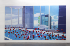 Mak Ying Tung 2, Home Sweet Home: Long Rose Pool, 2020, Acrylic on canvas, triptych, 260 x 462 cm (Each panel 250 x 154 cm)