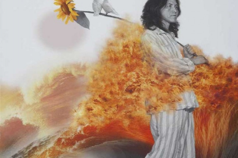 赵金鹤, Fire Stealer – Sea Sunflower, 2014, 布本上油畫印刷, 110 x 80厘米