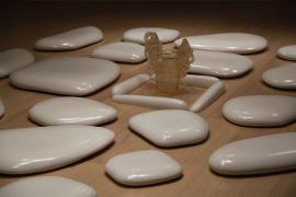 Mariko Mori, Flatstone, 2006, Ceramic stones and acrylic vase, 487.7 x 315 x 8.9 cm
