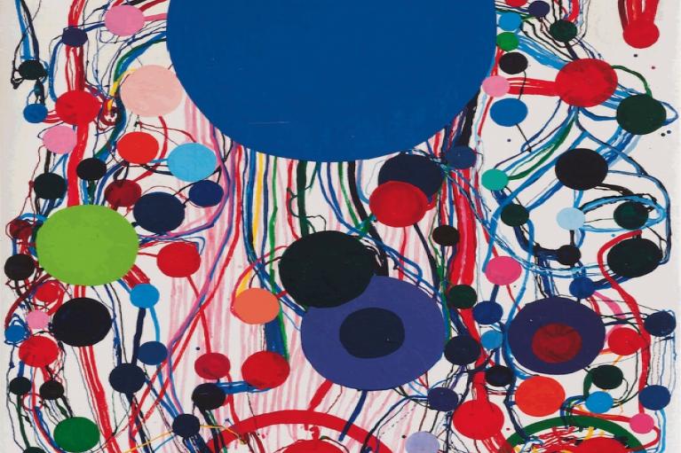 田中敦子, 97A, 1997, 布本瓷漆画, 130.6 x 89.6 厘米
