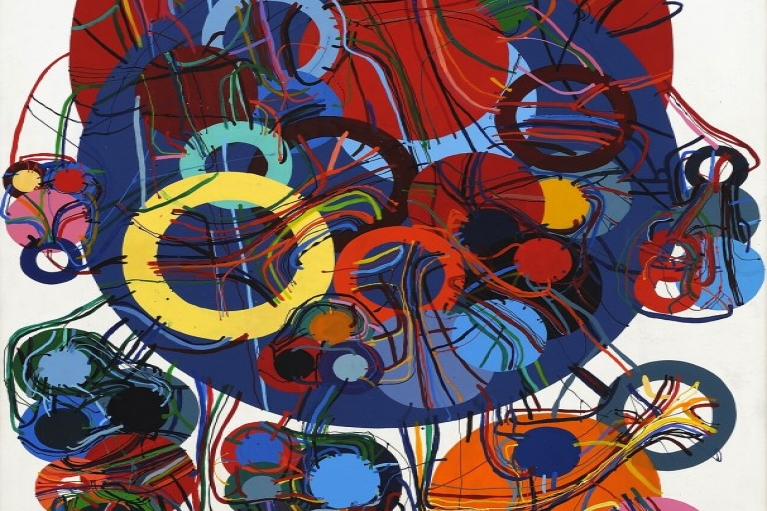 Atsuko Tanaka, 83-E, 1983, Synthetic resin and enamel on canvas, 194 x 129.9 cm