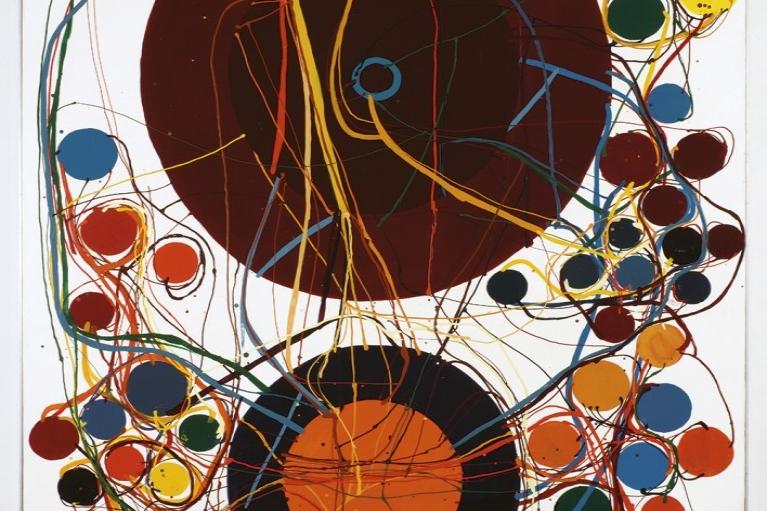 田中敦子, Work,1963,瓷漆画布,159 x 129 厘米
