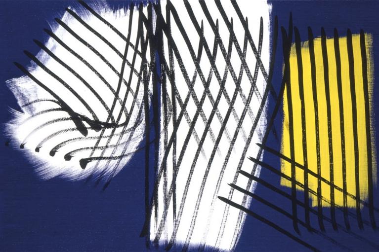 漢斯·哈同, T1974 - E10, 1974, 布本丙烯, 111 x 180 厘米