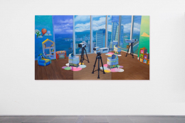 Mak Ying Tung 2, Home Sweet Home: 1,2,3 cheese, 2019, Acrylic on canvas, 120 x 213 cm