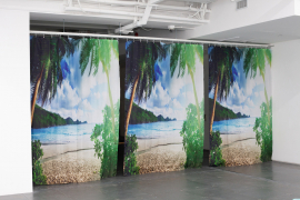 Mak Ying Tung 2, A More Perfect Sea, 2019, Shower Curtain, 265 x 195 cm each