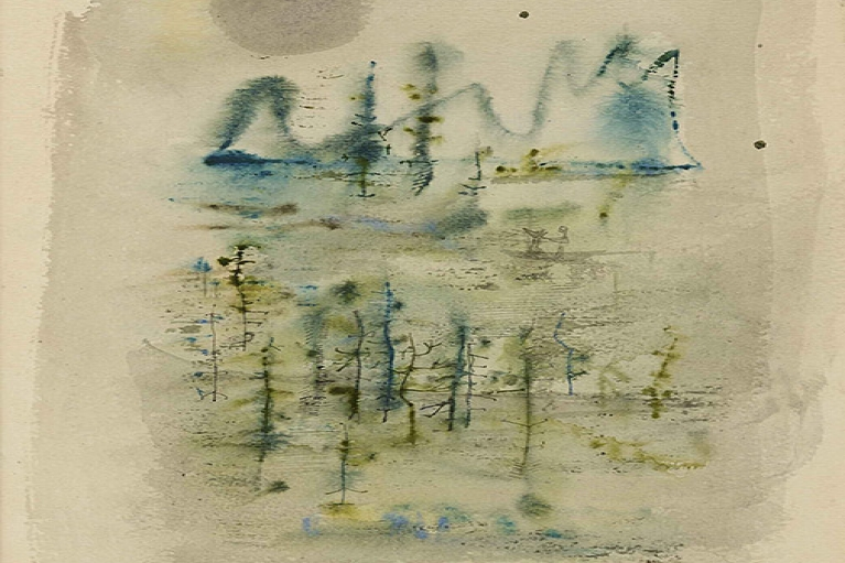 Zao Wou-Ki, Untitled, 1950, Ink and watercolor on paper, 32.39 x 24.77 cm