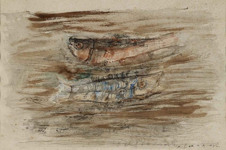 Zao Wou-Ki, Two Fish, 1952, Pen and ink with watercolor on paper, 27 x 38 cm