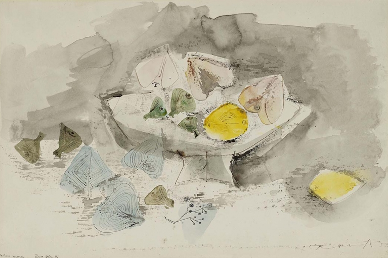 Zao Wou-Ki, Nature Morte, 1953, Ink and watercolor on paper, 33.5 x 51.5 cm