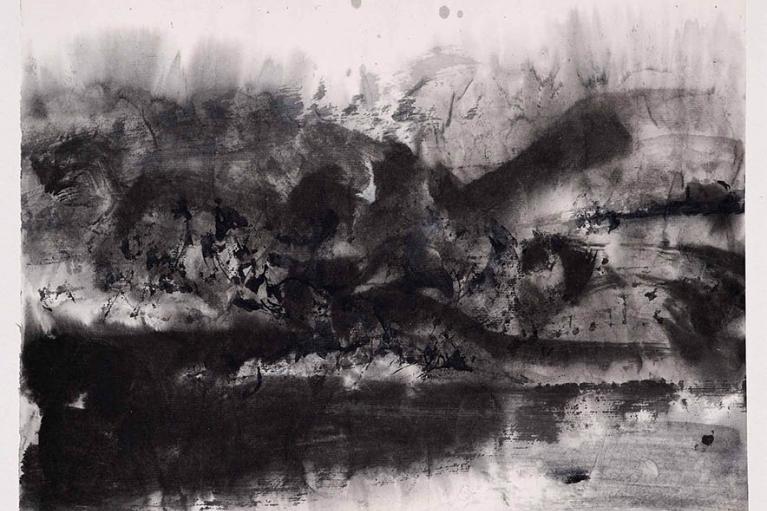 Zao Wou-Ki, Untitled, 1969, Ink on paper mounted on cardboard, 24 x 31 cm