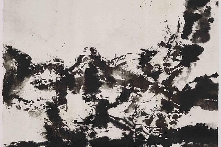 Zao Wou-Ki, Untitled, 1995, Ink on paper, 65 x 63 cm