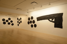 James Lee Byars, Untitled, 1975, One gun and 21 bullets comprised of black tissue paper with graphite