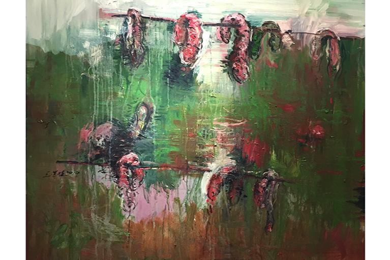 王荣植,Dry Sausages,2014,布本快干油彩,160 x 140 cm.