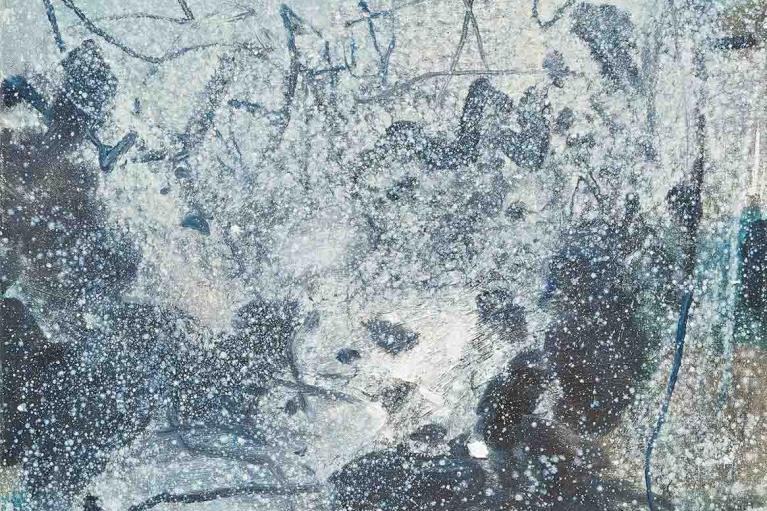 朱德群, 沉默的世界, 1985, 布本油畫, 65 x 54 厘米