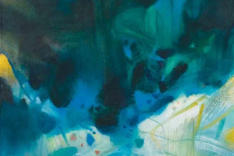 Chu Teh Chun, Alentours Verdoyants, 1988, Oil on canvas, 97 x 63.8 cm