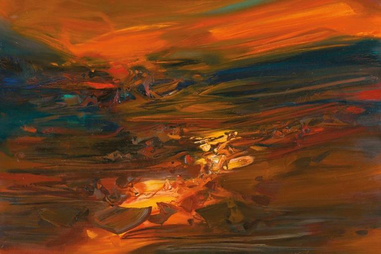 朱德群, 404號, 1971, 布本油畫, 160 x 200 厘米