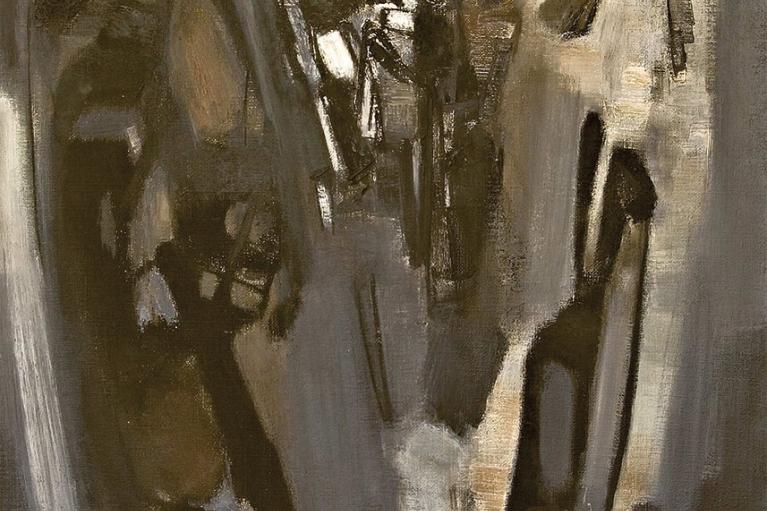 朱德群, 組成, 1959, 布本油畫, 130 x 80 厘米