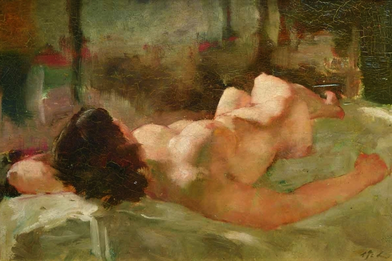 Wu Zuoren, Nude woman, 1932, Oil on canvas, 49.5 x 29.5 cm