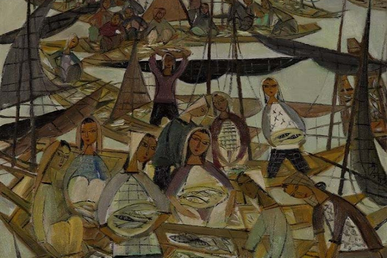Lin Fengmian, Fish market, c.1960s, Oil on canvas, 77.5 x 77.5 cm