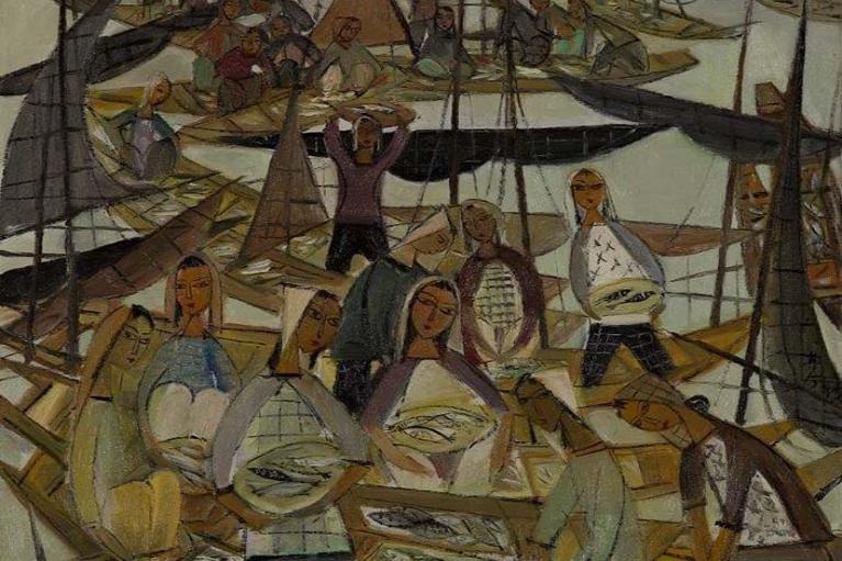 林风眠, 海鲜市场, c.1960s, 布本油画, 77.5 x 77.5 厘米