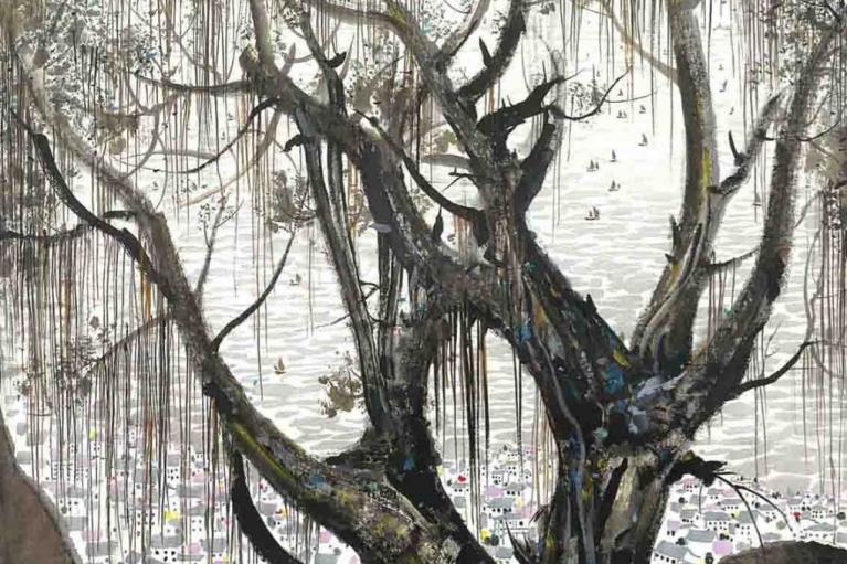 吴冠中, 古浪屿, 1977, 墨水和水彩在韩国纸上, 102 x 103 厘米