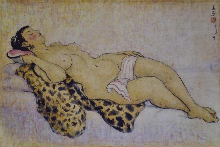 潘玉良, 裸体, 1957, 墨水和水彩在纸上, 60 x 90.5 厘米