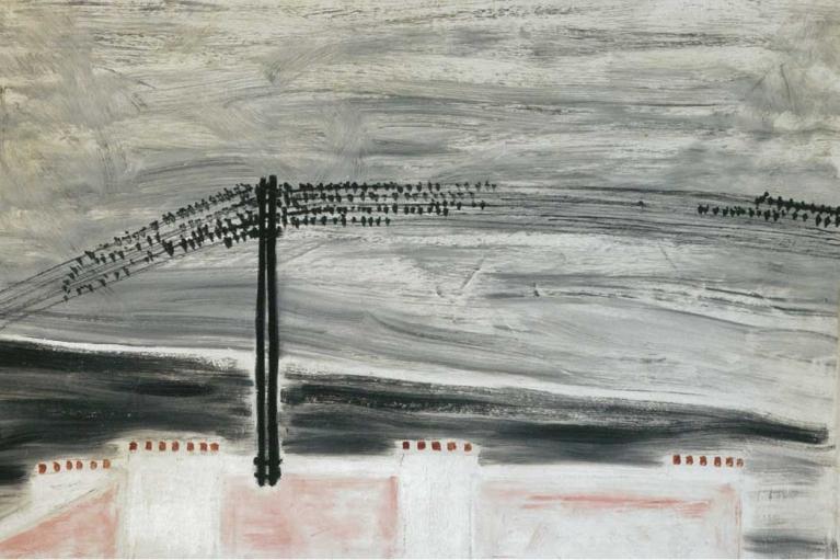 常玉, 麻雀在一条线上, 1931, 布本油画, 50 x 80 厘米