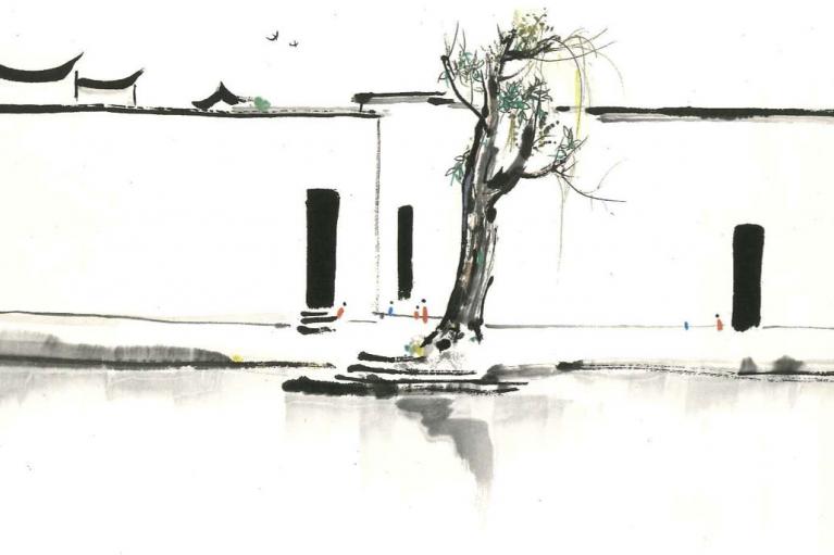 吴冠中, 春天来了, c.1980s, 墨水和水彩在纸上, 69.3 x 137 厘米