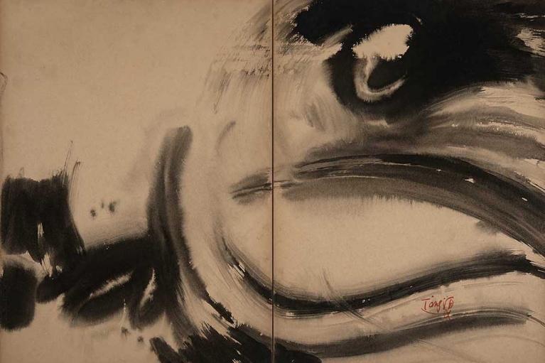 曾海文, 龙的诞生, 1970, 墨水在 Kyro卡, 雕刻板, 70 x 100 厘米