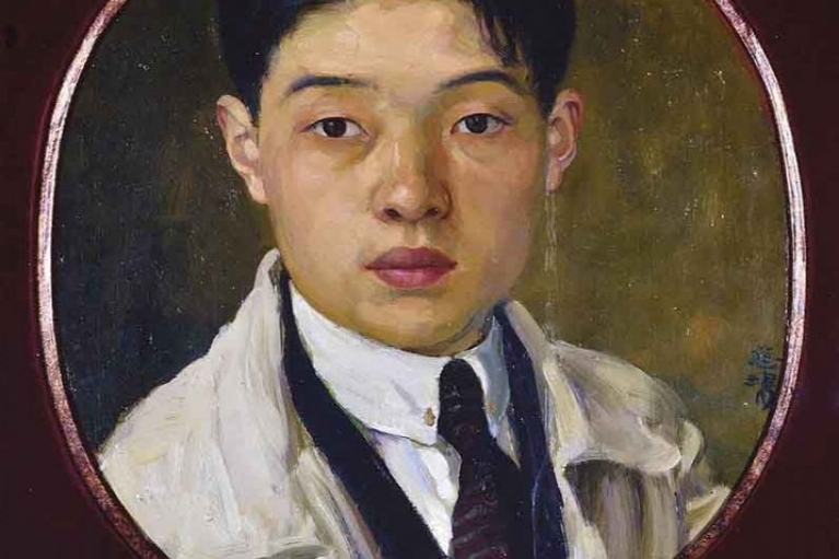 Xu Beihong, Artist's self portrait (recto) Carvoting Lions (verso), c.1922, Oil on Board, 37.5 x 32 cm