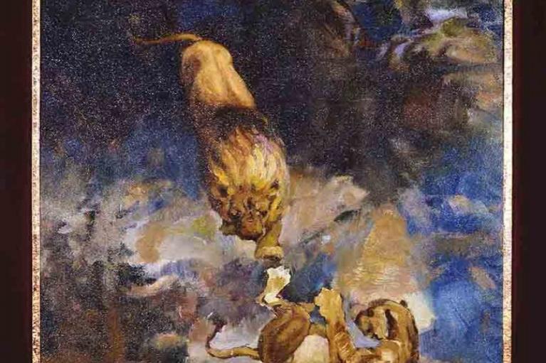 徐悲鸿, 艺术家的自画像 (直) 嬉闹狮子 (反面), c.1922, 油在板上, 37.5 x 32 厘米