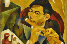 Yun Gee, The Flute Player (Self Portrait), 1928, Oil on canvas, 58.4 x 48.3 cm
