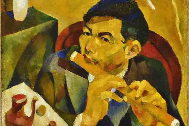 朱沅芷, 长笛演奏者 (自画像), 1928, 布本油画, 58.4 x 48.3 厘米