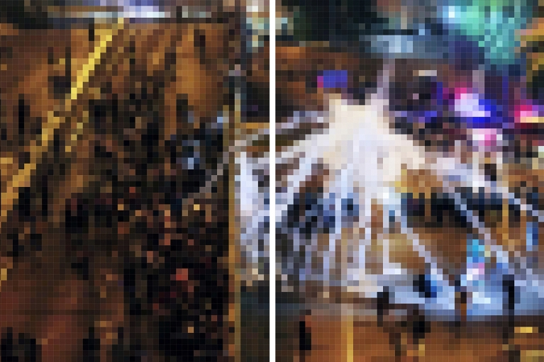 Wang Guofeng, Pixelated 2014 No. 11, 2014, Giclee print mounted on Diasec, diptych, 200 x 148 cm x 2; 200 x 303 cm overall