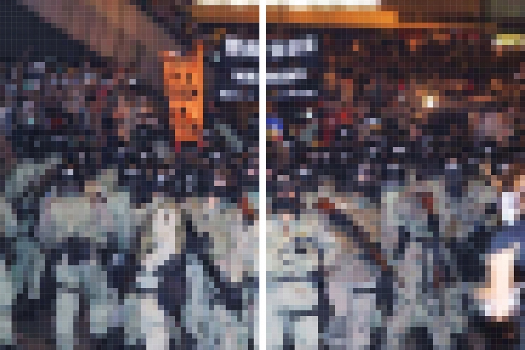 Wang Guofeng, Pixelated 2014 No. 12, 2014. Giclee print mounted on Diasec, diptych, 200 x 148 cm x 2; 200 x 303 cm overall