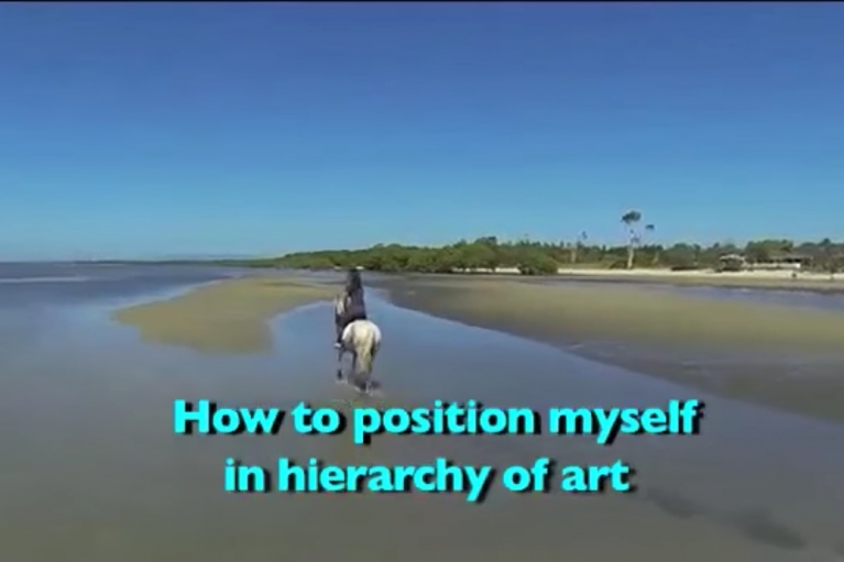 Mak Ying Tung, How to Position Myself in Hierarchy of Art, 2016, Karaoke video, 4'06''
