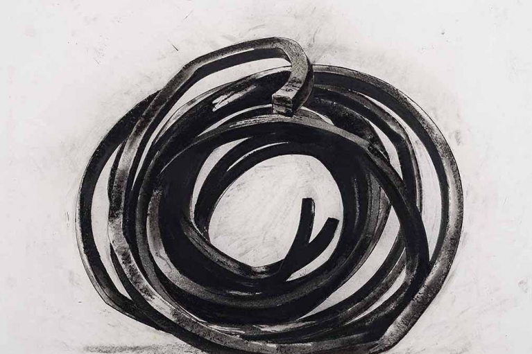 Bernar Venet, Two Indeterminate Lines, 2008, Oilstick and charcoal on paper, 119 x 131 cm