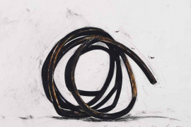 Bernar Venet, Two Indeterminate Lines, 2012, Oilstick and collage on paper, 57 x 77 cm