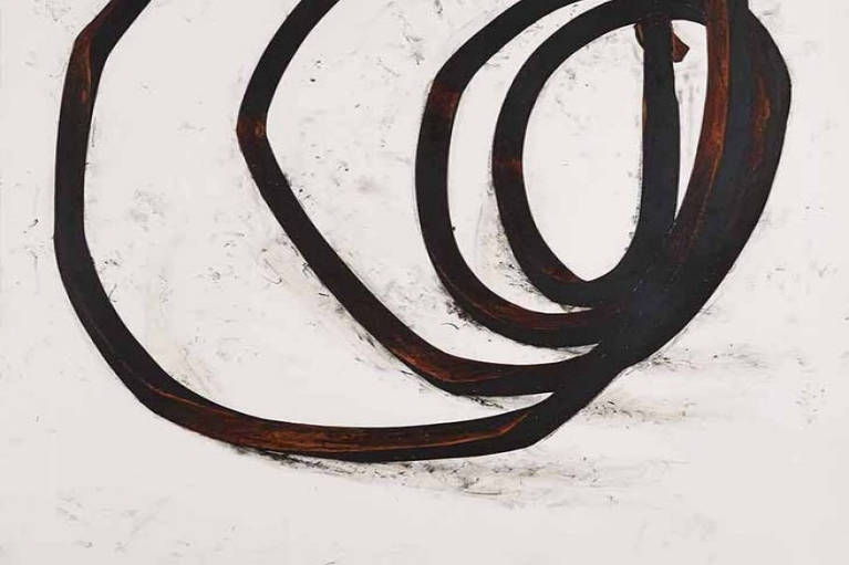 Bernar Venet, Undetermined Line D-2, 1989, Oilstick and charcoal on paper, 208.92 x 154.31 cm