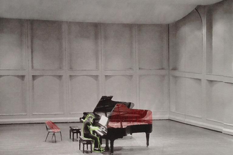 林菁菁,My Promise for Your Happiness 6-1,2014,布本印畫、丙烯、線,38 x 46 厘米