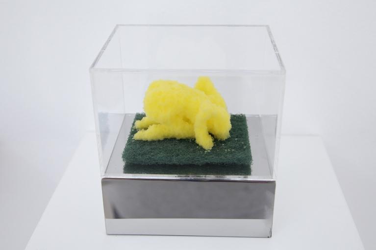周文斗,Sponge Pop - Head in Sand, 2006,海綿於亞加力盒內,9 x 6 x 4.5 厘米