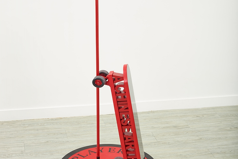 Wang Xin, A Major Player, 2016, Aerosol paint, metallic structure, 160 x 80 cm.