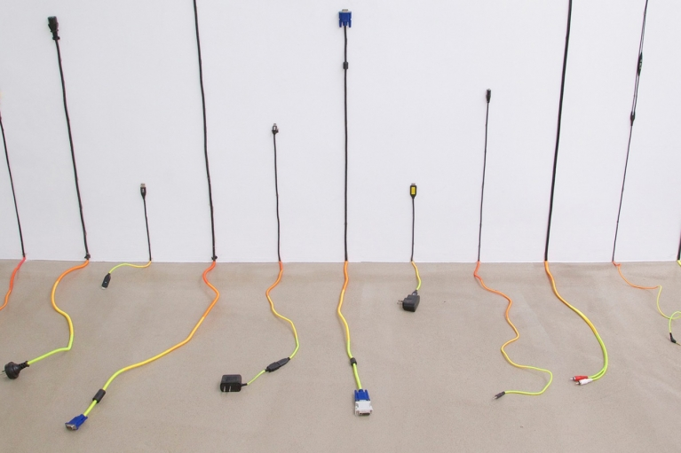 Lin Jingjing, I Have Yearned for Something I cannot Afford, 2015, Electrical cable, thread, 123 x 210 x 80 cm
